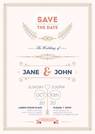 bleed: Vintage wedding invitation card A5 template with bleed area, clean & simple layout illustration