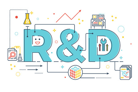 R & D: Onderzoek en ontwikkeling woord belettering typografieontwerp illustratie met lijn pictogrammen en ornamenten in blauw thema