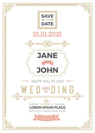 lineas decorativas: Tarjeta de invitación de boda de la vendimia plantilla A5 con área de sangrado, limpia y sencilla ilustración, diseño,