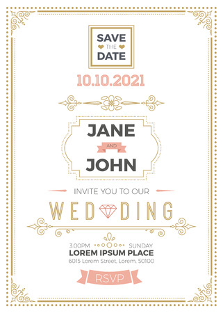 Vintage wedding invitation card A5 template with bleed area, clean & simple layout illustration