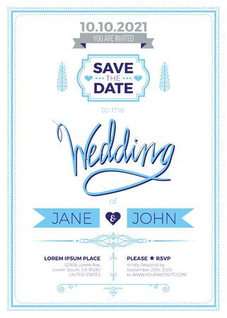 wedding invitation vintage: Vintage wedding invitation card A5 template with bleed area, clean & simple layout illustration