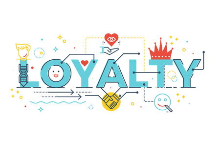 Loyalty word lettering typography design illustration with line icons and ornaments in blue theme Vectores