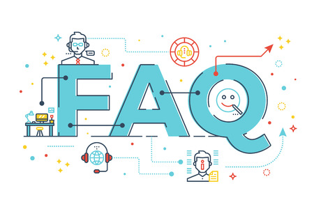 FAQ : Frequently asked questions word lettering design illustration with line icons and ornaments in blue theme