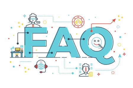 FAQ: Questions fréquemment posées mot lettrage illustration de conception avec des icônes de ligne et d'ornements dans le thème bleu Banque d'images - 63576670