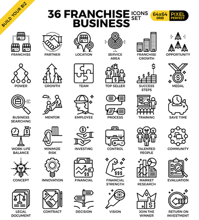 business team: Franchise business outline icons modern style for website or print illustration Illustration