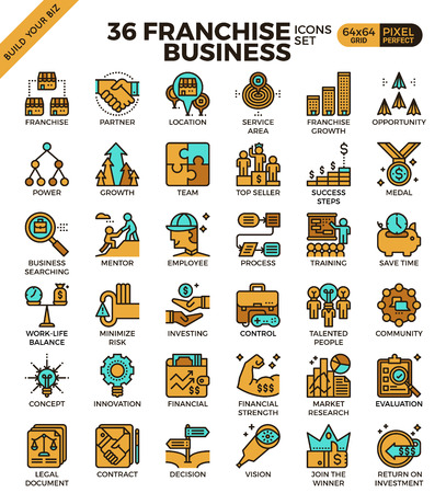 colleagues: Franchise business outline icons modern style for website or print illustration Illustration