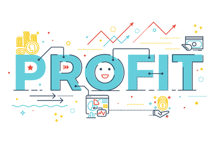 grow money: Profit word lettering design illustration with line icons and ornaments in blue theme
