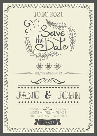 Tarjeta de invitación de boda de la vendimia plantilla de diseño de marco de tamaño A5 Ilustración de vector