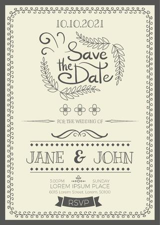 Weinlese-Hochzeitseinladungskarte A5-Format Frame-Layout-Vorlage Vektorgrafik