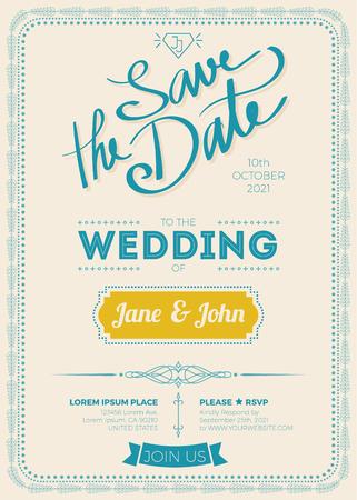 wedding invitation vintage: Vintage wedding invitation card A5 size frame layout template