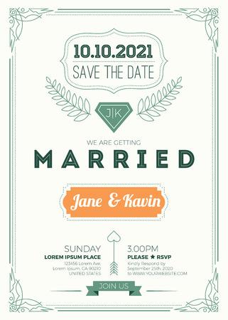 wedding invitation vintage: Vintage wedding invitation card A5 size frame layout print template