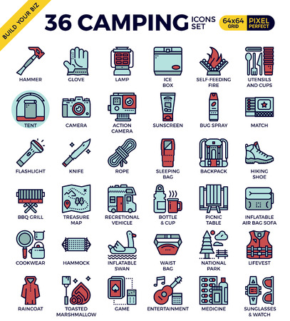 Camping outline icons modern style for website or print illustration