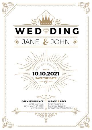Tarjeta de invitación de boda de la vendimia plantilla de impresión diseño de marcos de tamaño A5 Ilustración de vector