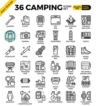 rv: Camping outline icons modern style for website or print illustration