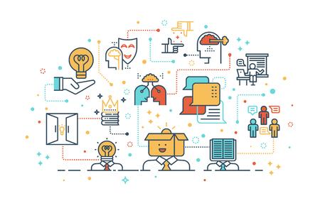 aprendizaje: Ilustración de diseño de icono de línea de aprendizaje creativo y concepto de pensamiento, aislado en fondo blanco Vectores