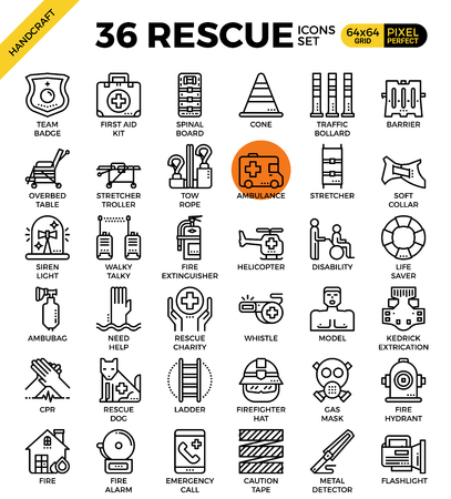 cpr: Rescue emergency outline icons concept in modern style for website or print illustration