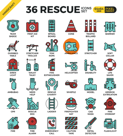 bollard: Rescue emergency outline icons concept in modern style for website or print illustration