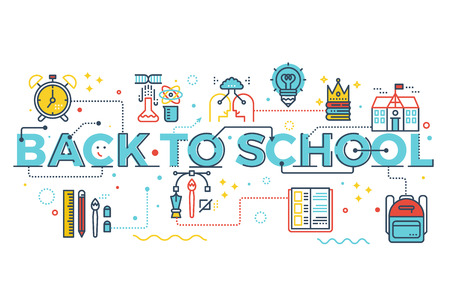 colour pencil: Back to school, education concept word lettering design illustration with line icons and ornaments in blue theme
