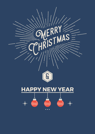style template: Christmas greeting card template in vintage minimal style