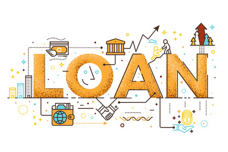 Personal loan, business finance concept word lettering design illustration with line icons Stock Illustratie
