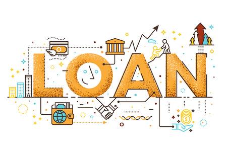 Persoonlijke lening, het woord van het bedrijfsfinanciënconcept het van letters voorzien ontwerpillustratie met lijnpictogrammen