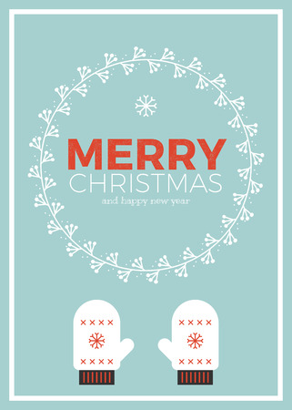 warm clothing: Christmas greeting card template in vintage minimal style