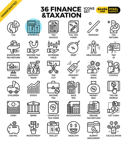 taxation: Finance and taxation, business concept, outline icons concept in modern style for web or print illustration