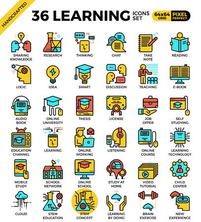 L'apprendimento, il concetto di educazione, icone contorno concetto di stile moderno per il web o la stampa illustrazione Vettoriali