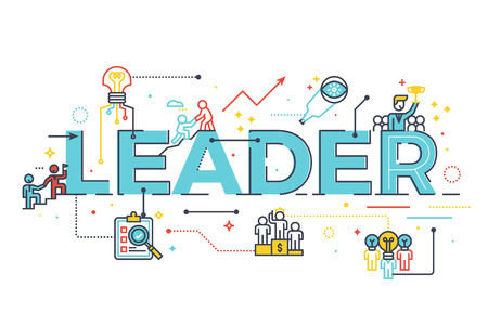 Leader word in business leadership concept, word lettering design illustration with line icons and ornaments in blue theme