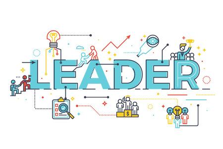 palabra líder en el concepto de la dirección de negocios, ilustración de la palabra diseño de letras con los iconos de línea y adornos en azul tema