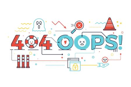 404 oops! S? Owo na stronie internetowej internet nie znaleziono pojęcia, projektowanie ilustracji litery z ikony linii i ozdoby w niebieskim tematu