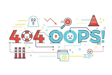 404 oops! word for internet website page not found concept,lettering design illustration with line icons and ornaments in blue theme