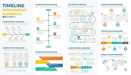 time line: Business timeline infographic elements with illustrations and icons for data report  and information presentation