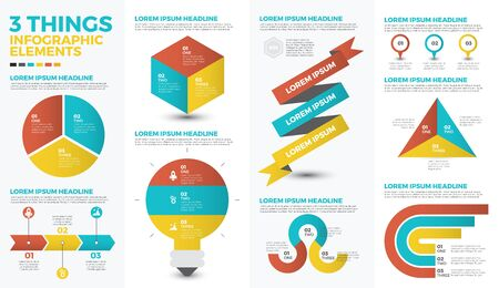 options: Three things infographic elements with illustrations and icons for data report  and information presentation