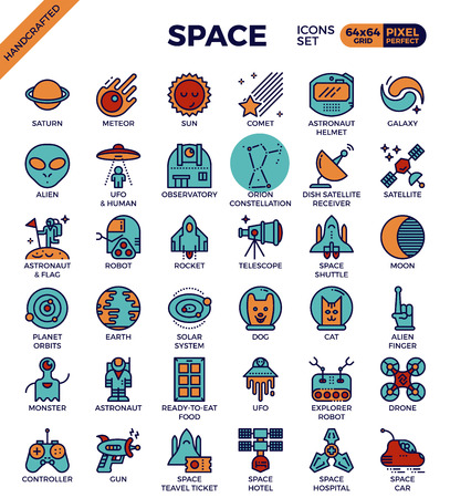 Space and galaxy outline icons concept in modern style for web or print illustration Illustration