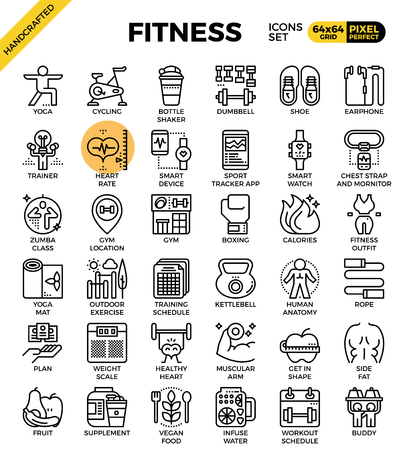 Fitness, sport, gym, gezondheid gedetailleerde lijn pictogrammen instellen in moderne lijn pictogramstijl concept voor ui, ux, web, app ontwerp