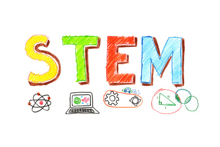 Illustration of STEM - science, technology, engineering, mathematics education word typography design in kid hand drawn style. concept for ui, ux, web, app banner design
