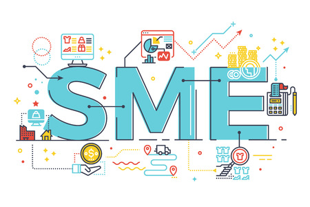 SME, Small and Medium Enterprise, word lettering illustration in business concept. Design in modern style with related icons ornament concept for ui, ux, web, app banner design