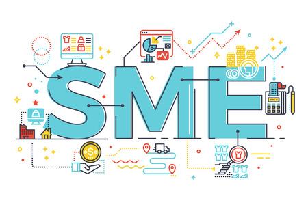 PYME, pequeñas y medianas empresas, ilustración de la palabra en letras concepto de negocio. Diseño de estilo moderno con iconos relacionados ornamento concepto para la interfaz de usuario, UX, tela, diseño de banners de aplicaciones