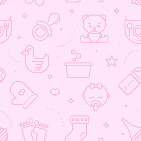 baby: Vintage pastel color seamless baby pattern. Baby line icons illustration background. Illustration