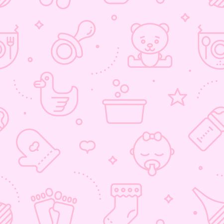 pastel color: Vintage pastel color seamless baby pattern. Baby line icons illustration background. Illustration