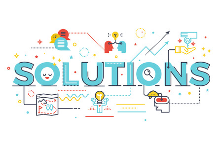 design solutions: Solutions word lettering illustration. Design in modern style with related icons ornament concept for ui, ux, web, app banner design