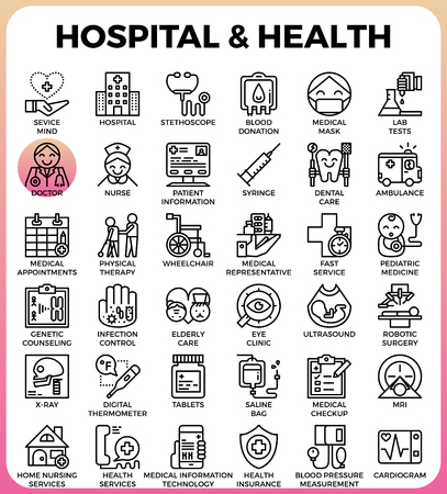 Hospital and Health concept detailed line icons set in modern line icon style concept for ui, ux, web, app design