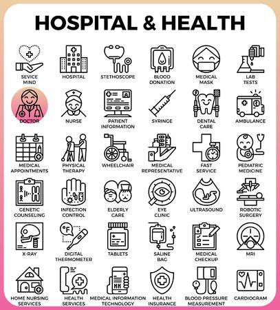 병원 및 건강 개념 현대 선 아이콘에서 설정하는 자세한 선 아이콘 ui, ux, 웹, 응용 프로그램 디자인에 대 한 스타일 개념 일러스트