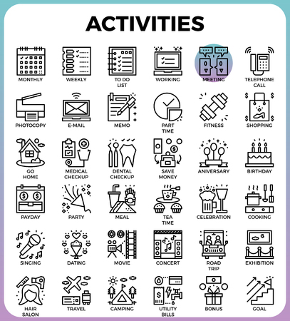 do cooking: Daily Activities concept detailed line icons set in modern line icon style concept for ui, ux, web, app design Illustration