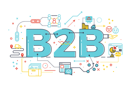 office supply: B2B : Business to business, word illustration for e-biz business concept.