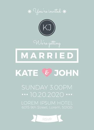 illustration invitation: Vintage wedding invitation card template with clean & simple layout illustration