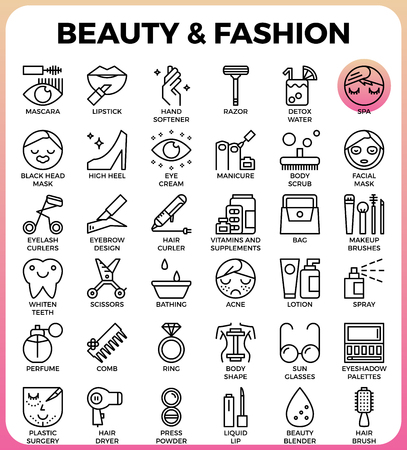 beauty icon: Beauty and Fashion concept detailed line icons set in modern line icon style concept for ui, ux, web, app design Illustration