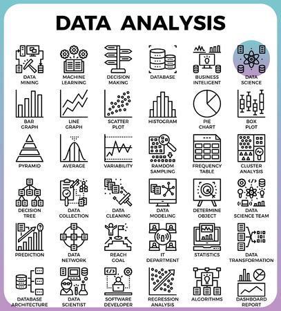 data line: Data Analysis concept detailed line icons set in modern line icon style concept for ui, ux, web, app design