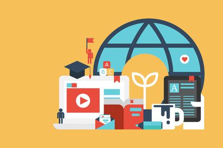 computer education: Online Education and Learning concept illustration. Flat design for website, app, web banner. Illustration
